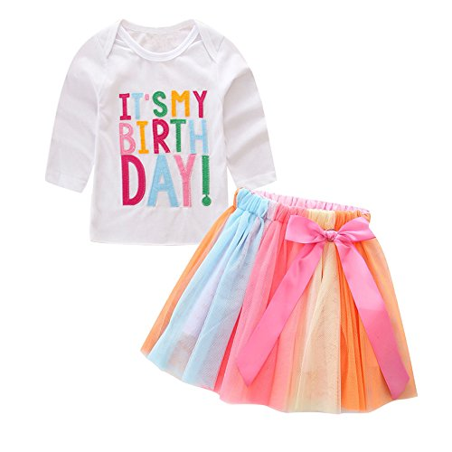 Kidsa 1-7T Baby Little Girls Long Sleeve T-shirt + Colorful Rainbow Skirts Birthday Gift Outfits Set (T-shirt Kids Sleeve Long 2)