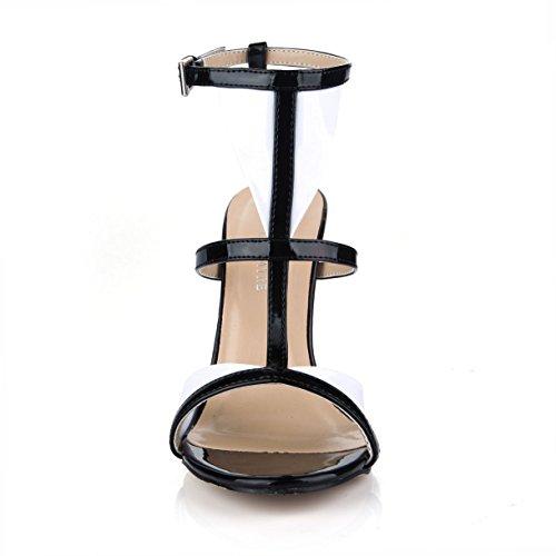 Dolphinbanana Jurk Hoge Hak Sandalen T-strap Gladiator Sandaal Pumps Dames Open Teen Schoenen Prime Zwart
