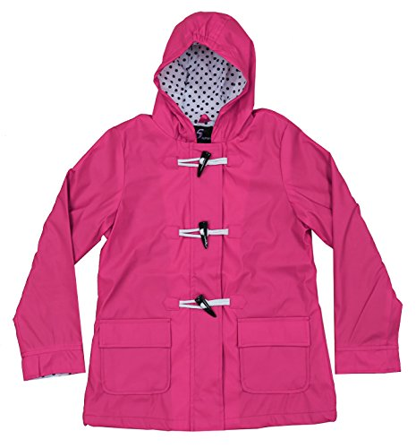 Apparel No. 5 Youth Girls Hooded Fully Lined Toggle Packable Rain Coat (Small (7), Fuchsia)