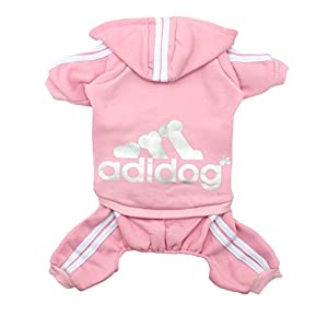 Scheppend Adidog Pet Clothes for Dog Cat Puppy Hoodies Coat Winter Sweatshirt Warm Sweater,Pink Medium