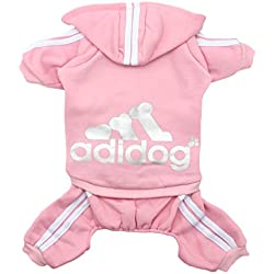 Scheppend Adidog Pet Clothes for Dog Cat Puppy Hoodies Coat Cute Sweatshirt Soft Cotton Sweater, Pink, 3XL