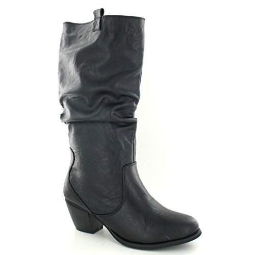 Block Heel Black Boots On Ladies Calf High Spot Womens 81qBBI