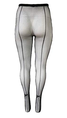 Yelete Killer Legs Womens Queen Plus Size Fishnet Pantyhose 168YD022Q, Black, Back Seam with Bow Tie
