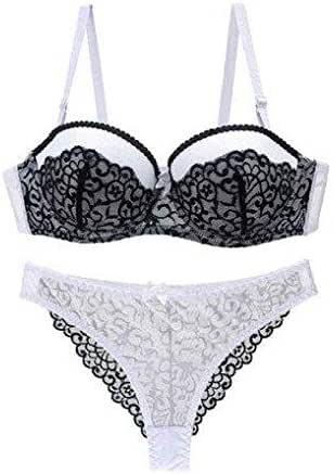 Black Contrast White Lace Bra Set