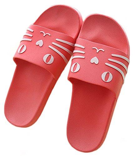 NEWZCERS Zapatos planos de los deslizadores de los pares de la historieta del resorte de la manera Rojo