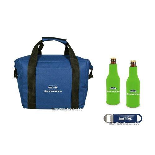 (NFL Football Team Logo 12 Pack Tailgating Cooler, Bottle Suits & Beer Opener Gift Set (Seahawks))