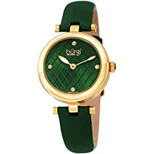 Burgi Women's BUR196GN Diamond Accented Argyle Dial Yellow Gold & Green Leather Strap Watch