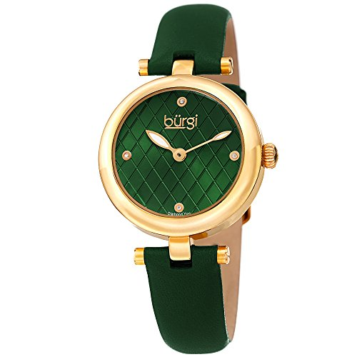 Green Leather Strap Watch - Burgi Women's BUR196GN Diamond Accented Argyle Dial Yellow Gold & Green Leather Strap Watch