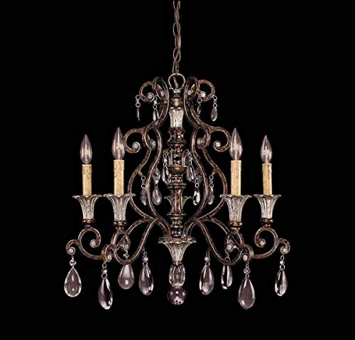 Savoy House Lighting 1-3001-5-8 St. Laurence Collection 5-Light Single-Tier Chandelier, New Tortoise Shell with Sliver Finish with Clear Crystals