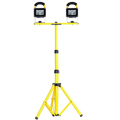 10W Rechargeable LED Flood Light Camp Work Emergency Lamp Tripod Stand - Stand Duty Work Portable Heavy