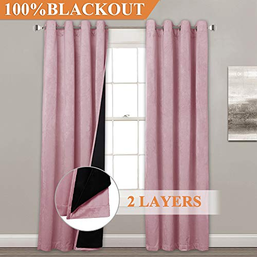 (StangH Full Blackout Lined Velvet Curtains - Romantic Decoration Velvet Panel Drapes with Thermal Insulated Lining, Soundproof Privacy Drapery for Toddle Room, Pink, 52
