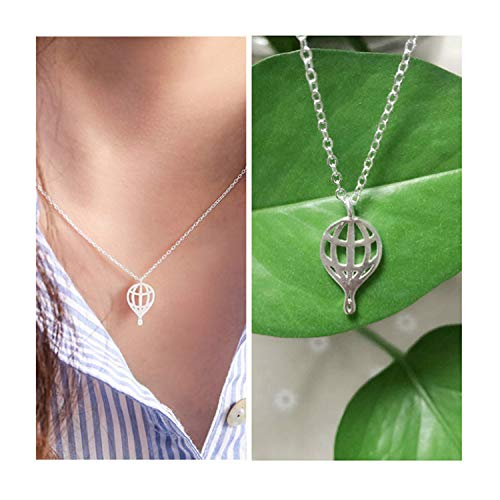 Fashion Personality Hot Air Balloon Models Pendant Necklace for Women Jewelry Gift (Silver)