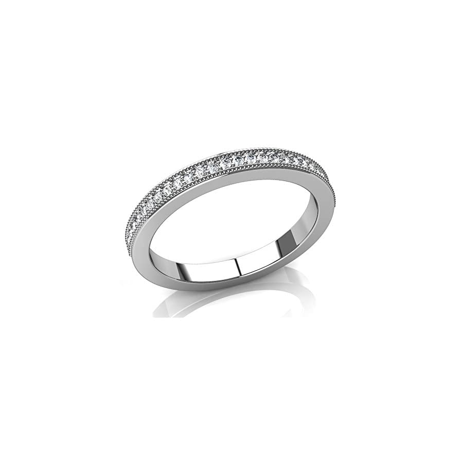 0.75 ct Round Cut Diamond Milgrained Wedding Band in 14 kt White Gold