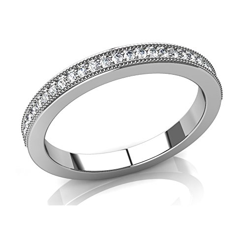0.75 ct Round Cut Diamond Milgrained Wedding Band in 18 kt White Gold