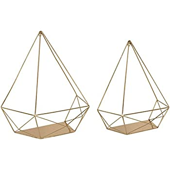 Kate and Laurel Prouve Decorative Geometric Multi-use Metal Wall Display Shelves, Gold, 2 Piece Set