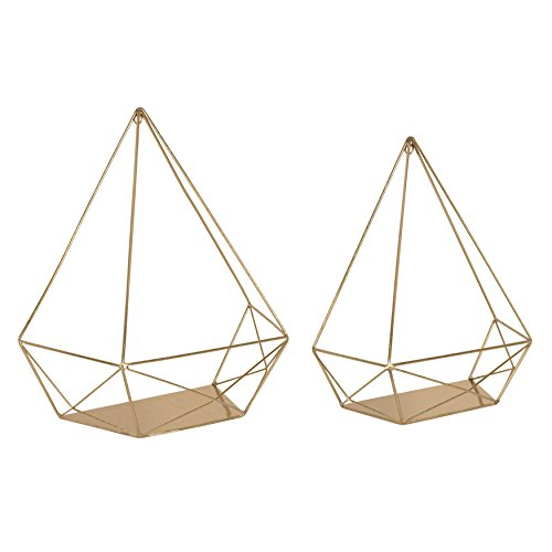 Kate and Laurel Prouve Decorative Geometric Multi-use Metal Wall Display Shelves, Gold, 2 Piece Set ()