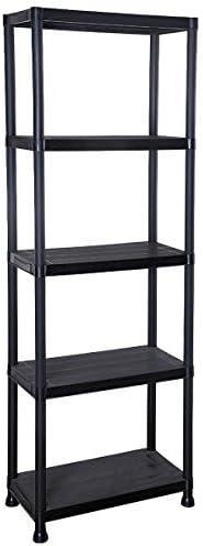 5 Tier Black Plastic Shelving Unit Storage Shelves Garage Shop Warehouse Shed (1): Amazon.co.uk: Kitchen & Home