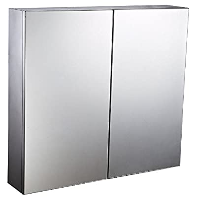 """HomCom 22"""" Stainless Steel Double Doored Wall Mounted Mirrored Medicine Cabinet - ✔ STYLISH, COMPACT CABINET: This HomCom two door, mirrored stainless steel floating bathroom cabinet creates a polished, clean look and gives you the ability to store personal hygiene essentials out of sight. ✔ AMPLE STORAGE OPTIONS: Three fixed interior metal shelves provide multiple levels of storage within this reflective medicine cabinet, the metal surface adding depth and an artistic touch when colorful items are stored in the cabinet. ✔ TRIPLE MIRROR DESIGN: Our HomCom cabinet offers a triple mirror design, with a mirrored surface on the front, on the back of the door, and the rear wall of the interior of the cabinet so you can look your best at any angle. - shelves-cabinets, bathroom-fixtures-hardware, bathroom - 41CMzvH3fTL. SS400  -"""
