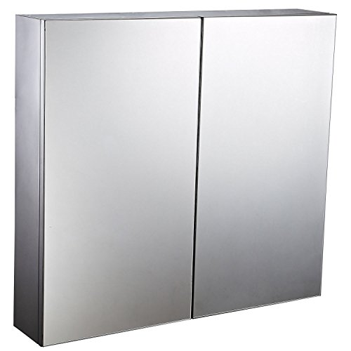 """41CMzvH3fTL - HomCom 22"""" Stainless Steel Double Doored Wall Mounted Mirrored Medicine Cabinet"""