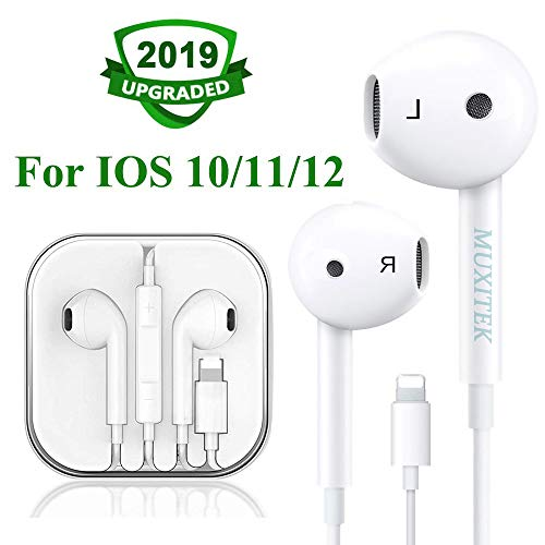 MUXITEK Earbuds Headset Wired Earphones Headphone with Microphone and Volume Control, Compatible with iPhone Xs/XS Max/XR/X/8/8 Plus/7 and iOS 10/11/12 (White)