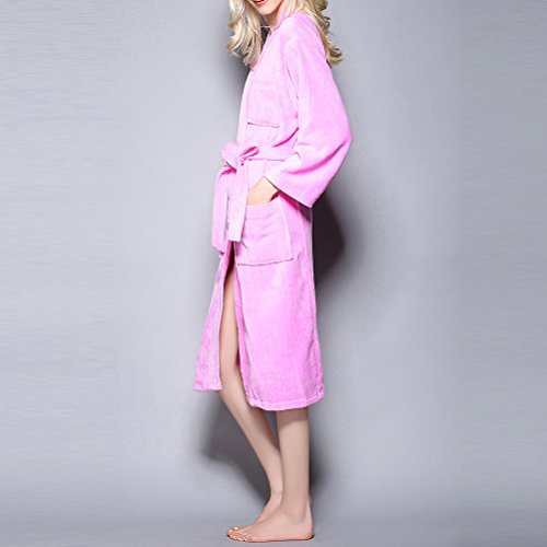 Absorbent Men Zhuhaitf Pigiama Pink Unisex Solid Thick Nightgown cotone Women Comfy Simple color accappatoio rr0qdBw