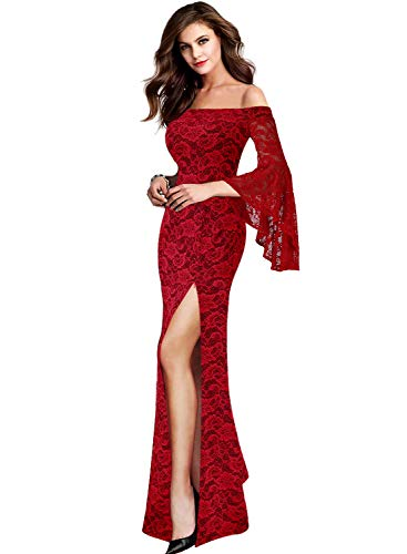 VFSHOW Womens Dark Red Lace Off Shoulder Ruffle Bell Sleeve Formal Evening Wedding Maxi Dress 1810B RED L