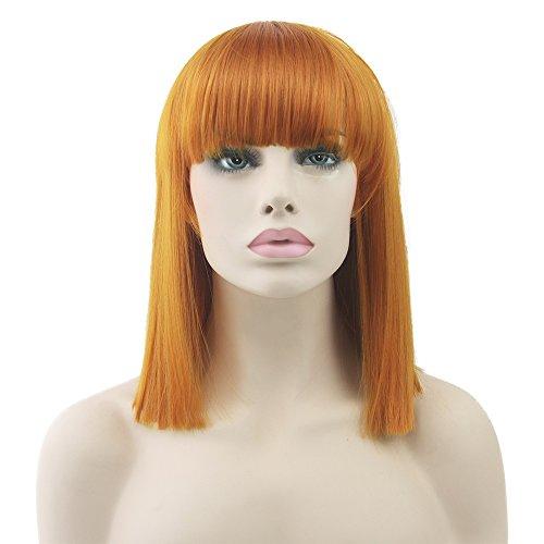 Women's 40cm Short Straight Bob Wigs Neat Bangs Cosplay Party Costume Hair -