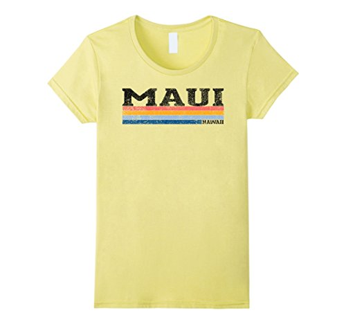 Womens Vintage 1980S Style Maui Hawaii T Shirt Medium Lemon