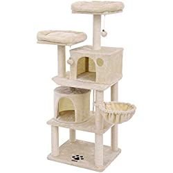 """FEANDREA Multi-Level 60"""" Cat Tree with Sisal-Covered Scratching Posts, Plush Perches, Basket and 2 Condos,Cat Tower Furniture - for Kittens, Cats and Pets Beige UPCT90M"""