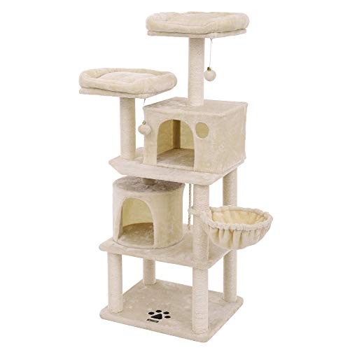 FEANDREA Multi-Level 60 inches Cat Tree with Sisal-Covered Scratching Posts, Plush Perches, Basket and 2 Condos, Cat Tower Furniture - for Kittens, Cats and Pets Beige UPCT90M