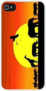 Rikki KnightTM Safari Silhouettes on Sunset Design iPhone 4 & 4s Case Cover (White Rubber with bumper protection) for Apple iPhone 4 & 4s