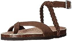 Muk Luks Women's Muk Luks Women's Estelle Sandals Flat Sandal, Brown, 6 M Us