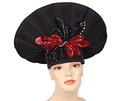 (Ms Divine Women's Straw Church Hats Derby Hats - 224 (Black/Red))