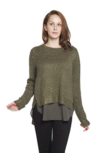 RLM Women's Lurex Chiffon Layered Split Pullover Sweater Sparkly Fine Knit Jumper (8, Green) (Metallic Sweater Sparkle)