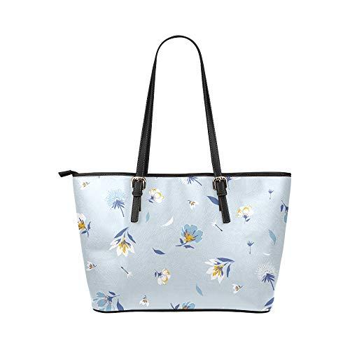 Satchel väska organiserare blå vår romantisk ljusblomma läder handväskor väska orsaksala handväskor dragkedja axel organiserare för dam flickor kvinnor flickor handväska