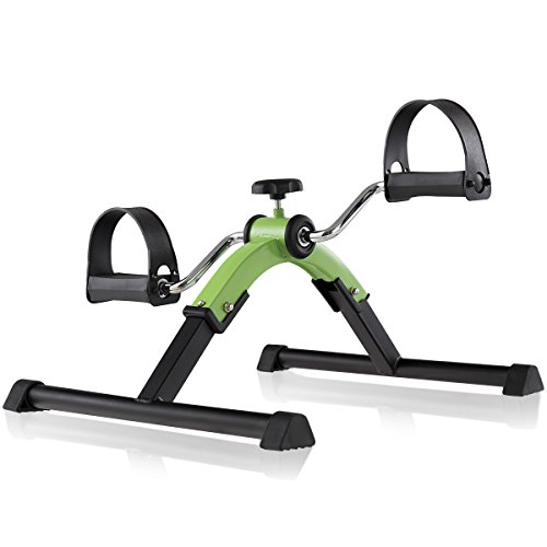 Goplus Portable Folding Pedal Exerciser Adjustable Resistance Indoor Mini Exercise Bike for Arms and Legs Green by Goplus