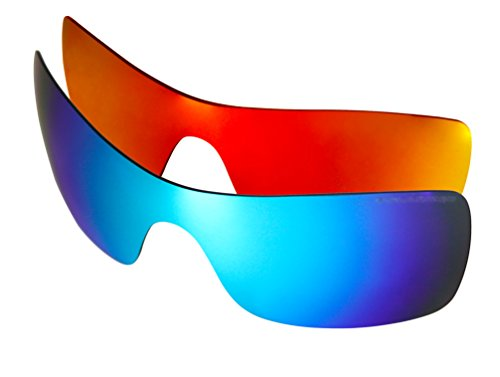 2 Pairs Polarized Replacement Sunglasses Lenses for Oakley Batwolf with UV Protection (Fire Red Mirror and Ice Blue Mirror)