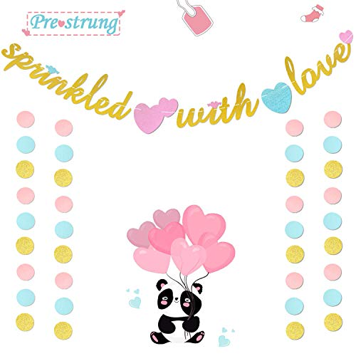 Sprinkled with Love Banner Gold Glitter Sign Garland Sprinkle Themed Baby Shower,Baby Sprinkle,Baby Diaper Party Backdrop Supplies Decorations (Sprinkled 2)