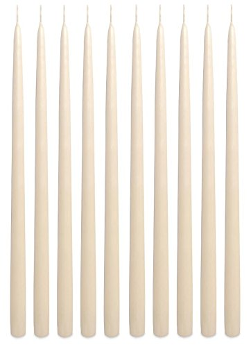 Dripless Elegant Premium Quality Taper Candles 15 Inches Tall Hand-dipped (Set of 12) (Ivory) Made in USA