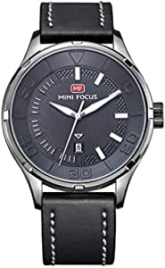 Mini Focus Casual Watch for Men , Analog , Leather Strap , Grey , MF0008G-04