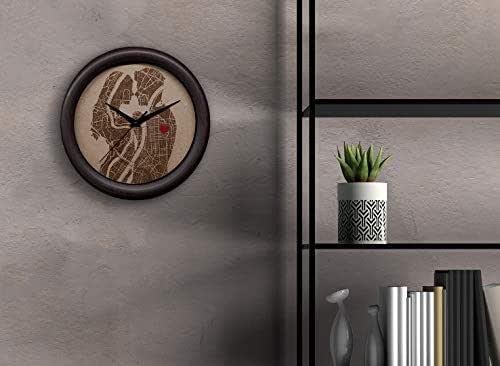 Reloj de pared personalizado con grabado en madera. Original reloj de cocina con foto o ciudad custom, con texto, pin, icono, fecha, corazón
