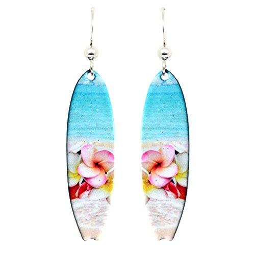 Earrings Surfboard - Plumeria Surfboard Earrings by d'ears Non-Tarnish Sterling Silver French Hook Ear Wire
