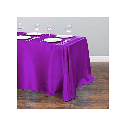 HuangKang 1Pcs Satin Tablecloth Modern Style Gold White for Christmas Wedding Party Table Cover Table Cloth Home Decor,Plum,145X335Cm-57X132Inch from HuangKang