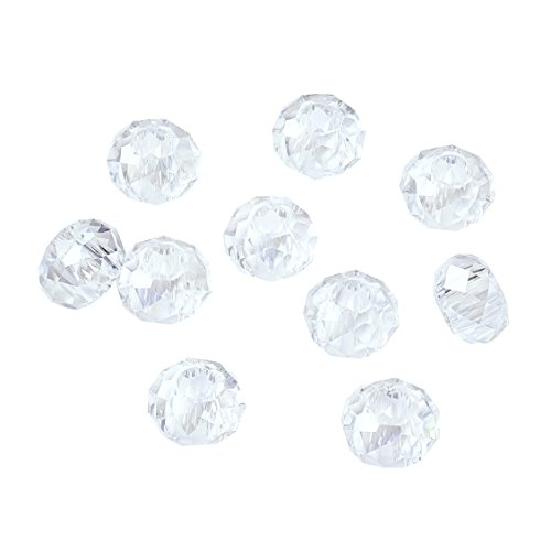 ss European Beads Large Hole Beads Round Faceted Rondelle Slide Charms No Metal Core for Bracelet Jewelry Makings Crystal AB 14mm in Diameter ()