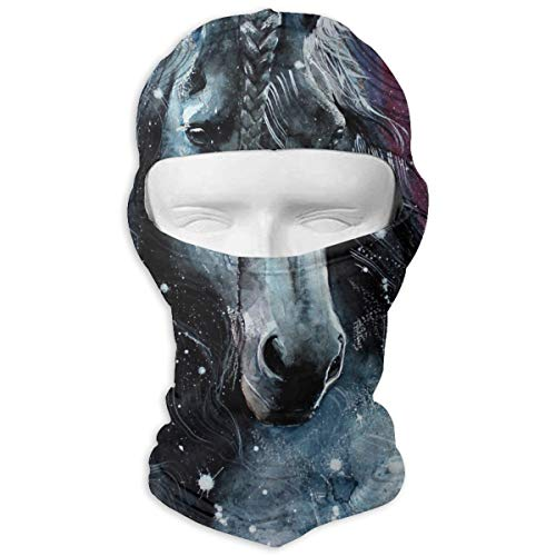 Leopoldson Watercolor Horse 3 Balaclava UV Protection Windproof Ski Face Masks for Cycling Outdoor Sports Full Face Mask Breathable ()