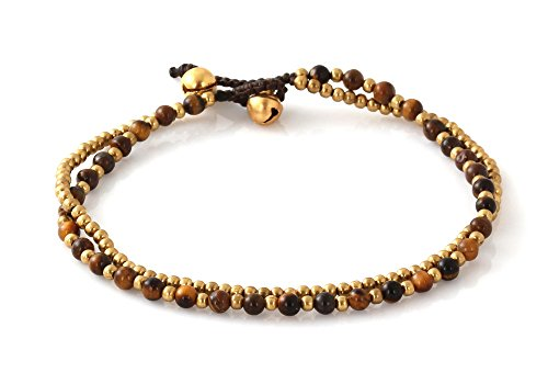 MGD, Dark Brown Tiger Eye Color Bead and Brass Bell Anklet. 2-strand Anklets Beautiful Handmade Brass Anklet. Small Anklets. Ankle Bracelet. Fashion J…