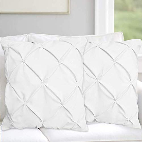 Precious Star Linen Pillow Sham Set of 2 Pinch Plated/Pintuck Pillow Cover Sham Solid Design 625 Thread Count Natural Cotton, Hypoallergenic White Solid, Euro/Square (26'' x -