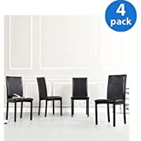 Declan Faux Leather Metal Chair, Set of 4, Dark Brown