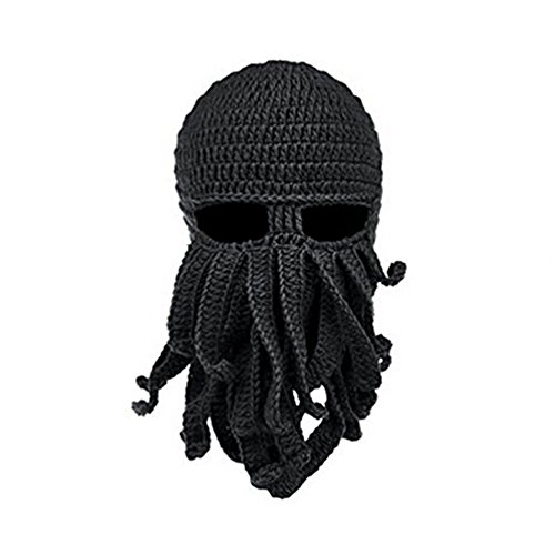 gloednApple Windproof Octopus Winter Warm Knitted Wool Ski Face Mask Knit Beard Squid Beanie Hat Cap -