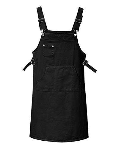Negro Vestido Vestir AnyuA De Tirantes Peto Mujer para Talla De Denim Grande Cortos Falda 0vOqYZvw
